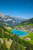 View To Engelberg With Eugenisee Lake Under The Mt. Titlis, Switzerland