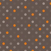Seamless vector pattern with orange, beige, brown, grey, colorful polka dots dark brown background