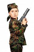 Portrait of a boy dressed like a soldier and holding a gun. Different occupations. Isolated over white.