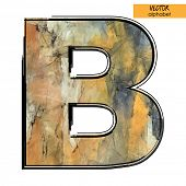art sketched stylization alphabet in vector, colorful font, sign B