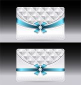 Gift cards with geometric pattern light blue bow ribbon