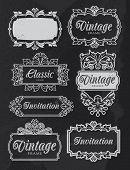 Vintage chalkboard banner frames. Vector design set with removable texture.