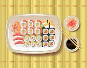 stock photo of soy sauce  - Japanese sushi soy sauce and chopsticks on bamboo mat - JPG