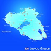 Island Of Lesvos In Greece Map