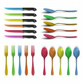 Set Of Colorful Knives, Forks And Spoons Over White Background. Vector Design.