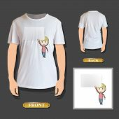 Boy Holding An Empty Business Card Printed On Shirt. Vector Design.