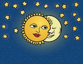 moon sun, vector illustration