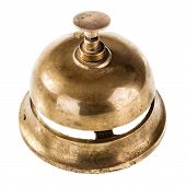 foto of over counter  - an old hotel bell isolated over a white background - JPG