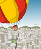 Hot air balloon over big city with buildings. Downtown.
