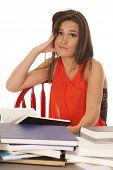 Woman Red Shirt Books Hand Cheek