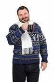 pic of shilling  - Fat man is holding ale pint and invites to the pub on white background - JPG