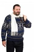 The Fat Man In A Blue-and-white Sweater With Ale Mug