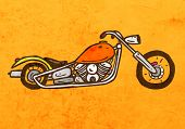 Chopper Motorcycle. Cute Hand Drawn Vector illustration, Vintage Paper Texture Background