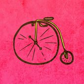 Retro velocipede. Cute Hand Drawn Vector illustration, Vintage Paper Texture Background