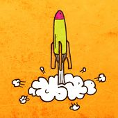 Rocket Launch. Cute Hand Drawn Vector illustration, Vintage Paper Texture Background