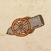 Cannon. Cute Hand Drawn Vector illustration, Vintage Paper Texture Background