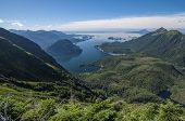 picture of pacific islands  - Beautiful clear scenic view of Silver Bay and Pacific Ocean from Bear Mountain on Baranof Island in southeast Alaska - JPG