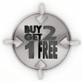 Buy Two Get One Free Sign On Metallic Label