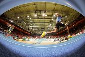 GOTHENBURG, SWEDEN - MARCH 1 Runners compete in the qualification of the men's 400m event during the