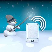 Snowman With Magic Wand And Smart Phone Sign
