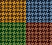 Houndstooth geometric plaid seamless pattern set in brown, blue and green, vector