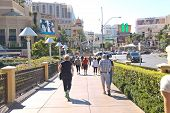 Pedestrians In Downtown  In Las Vegas, Nevada.