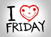 i love friday and i love weekend font signs draw by hand