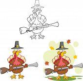 Pilgrim Turkey Bird Cartoon Character With A Musket. Collection Set