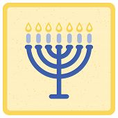 image of menorah  - Menorah with seven candles - JPG