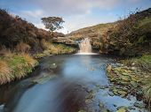 beautiful waterfall on the moorland in yorkshire