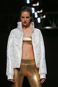 ZAGREB, CROATIA - OCTOBER 23: Fashion model wearing clothes designed by Vain on the Cro a Porter show on October 23, 2013 in Zagreb, Croatia.
