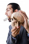 Antismoking concept with man and skull