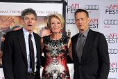 LOS ANGELES - NOV 7:  Alan Horn, Emma Thompson, Tom Hanks at the Emma Thompson Hand and Footprint Ceremony at TCL Chinese Theater on November 7, 2013 in Los Angeles, CA\