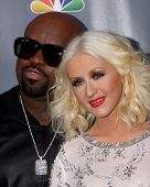 LOS ANGELES - NOV 7:  CeeLo Green, Christina Aguilera at the The Voice Season 5 Judges Photocall at