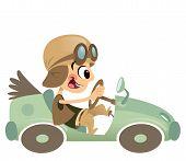 Cartoon Kid Boy With Hat And Eyeglasses Driving Retro Car