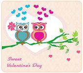 Owls In Love , Sweet Card Design.
