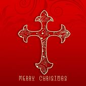 Shiny Christian Cross on floral decorated red background for Merry Christmas celebration.