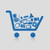 stock photo of refrigerator  - Vector illustration Shopping cart concepts white background - JPG