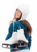 Young Woman With Ice Skates For Winter Ice Skating Sport Activity