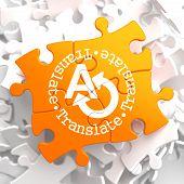 Translating Concept on Orange Puzzle.