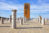 Marocco,Rabat. The Hassan Tower opposite the Mausoleum of King Mohamed V.