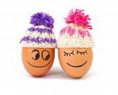 Funny Lovely  Eggs In Winter Hats