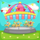 Children Having A Good Time In A Carousel