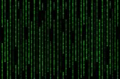 stock photo of maliciousness  - Green Matrix Binary Code on Black Background - JPG