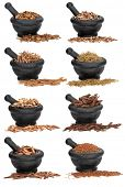 Large chinese herbal medicine ingredients in marble mortars with pestles over white background.