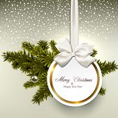 Christmas gift card with ribbon and satin bow. Vector illustration.