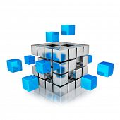 stock photo of cube  - Business teamwork internet communication concept  - JPG