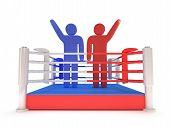 Two men on boxing ring