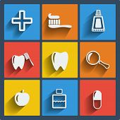 stock photo of toothpaste  - Set of 9 vector dental web and mobile icons in flat design - JPG