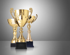 image of trophy  - three different kind of golden trophies on gray background - JPG